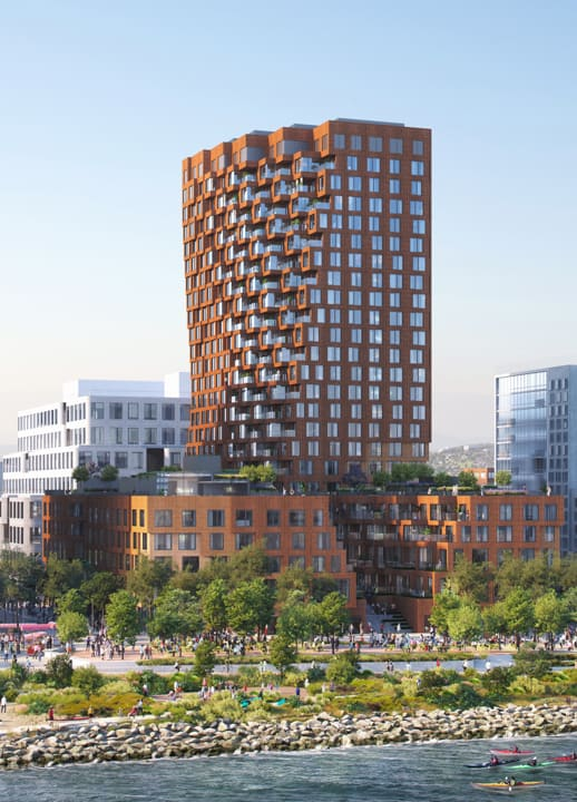 cgi render of waterfront apartment block