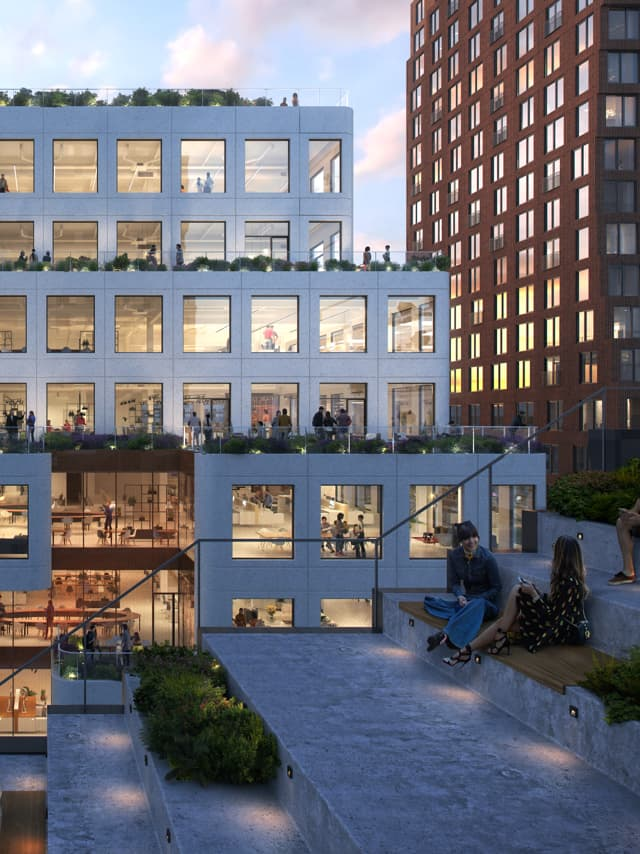 office building roof terrace seating area